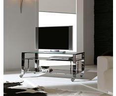 Dfierro Mueble TV con Ruedas, Metal, Cromado, 100.00x45.00x50.00 cm