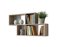 Estantería de pared de estantería de libros de espacio de almacenamiento estantería de Nora de madera de roble de colour blanco/FMD
