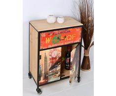 ts-ideen Container estantería cómoda armario de diseño estilo retro shabby NEW YORK y FLORIDA industrial con hierro, ruedas y cajones