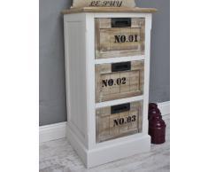 Pecho de cajones Armario marrón madera pecho de cajones color blanco antiguo casa de campo Shabby rústico número