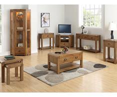 The One Oakville - Mueble de Esquina Alta de Roble Macizo, 1 Puerta, 1 cajón, Armario y Unidad de exposición, Acabado: Roble rústico Oscuro – Comedor – Muebles de salón