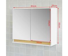 SoBuy® Mueble de pared con puerta de espejo, Armario con espejo, FRG131-WN, ES
