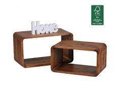 Wohnling de madera maciza de Sheesham mesa auxiliar 2er de juego de cubos en forma de cubo de estante de pared