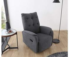 SUENOSZZZ-ESPECIALISTAS DEL DESCANSO Sillon Relax orejero reclinable Soft tapizado en Tela Antimanchas Gris
