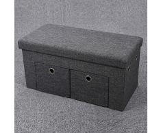 Songmics 76 x 38 x 38 cm Baúl Puff Taburete plegable para almacenaje con 2 cajones Textil Lino Gris Oscuro LSF41K
