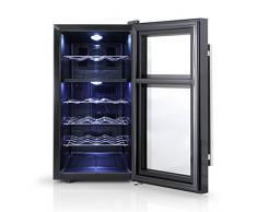 Orbegozo VT 1810 - Vinoteca 18 botellas, dos zonas de temperatura, 130 W, 52 l, LED, display digital, panel de control táctil, 4 estantes cromados extraíbles