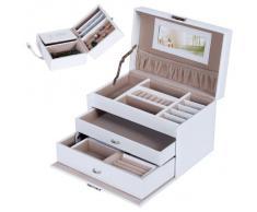 Songmics Caja Joyero Joyas Aretes Dijes anillo de la pulsera joyería caja de almacenamiento de regalo collar w / 3 capas JBC126W