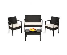 TecTake Conjunto muebles de Jardín en Poly Ratan Sintetico negro 4 plazas, 2 sillones, 1 mesa baja, 1 banco
