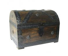 Cofre del tesoro caja de madera cofre pirata aspecto antiguo almacenamiento 28x21x21cm