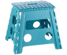 Zeller 99167 - Taburete de plástico plegable, 37 x 30 x 32 cm, color turquesa
