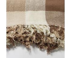Just Contempo - Manta para sofa (algodón), diseño a cuadros, 100% algodón, beige/marrón, King 259 x 259 cm