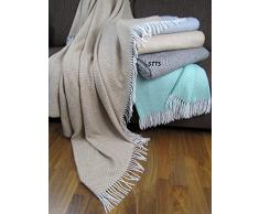 Manta de lana con franja , 80% Lana, 140 X 200cm, modelo Garda -270, color beige - blanco