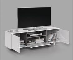 Habitdesign 0G6631BO - Mueble de Comedor TV Moderno, Color Blanco Brillo y Ceniza, Dimensiones 150 cm x 47cm x 41 cm de Fondo