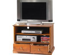 Beaux muebles no caros-Hifi-Mueble para televisor madera de cerezo Louis Philippe con ruedas