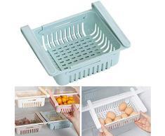Soporte de la caja de almacenamiento del refrigerador extraíble, estante del cajón del organizador de la cocina de alimentos adecuado, estante de fruta deslizante de la capa (azul, 1piezas)