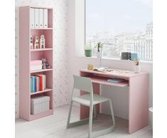 Habitdesign 005422M - Estantería Juvenil 6 baldas, Color Rosa Nube, Medidas: 180x52x25 cm de Fondo
