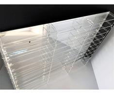Técnicas Láser 1:87.4.4L10B/100.E Vitrina de Metacrilato, Transparente/Fondo Espejo, Montada mide 65x80x8 cm (altoxanchoxfondo), Set de 17 Piezas