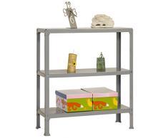 Simonrack 333100205901033 - Estantería metálica sin tornillos (900 x 1000 x 300 mm, 150 kg/estante, 3 estantes metálicos) color gris