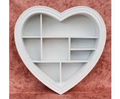 Estantería de pared corazón 15 K050 de madera 40 cm Sopo vitrina vitrina Estantería