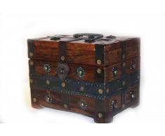 Cofre Medieval Pequeño Caja de Madera Antigua