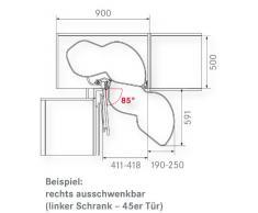 Kesseböhmer - Armario de esquina (giro suelo Le mansii, 45 Derecho 720 - 900 mm, Reling Plata