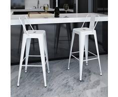 2 taburetes altos cuadrados de bar con respaldo de color blanco