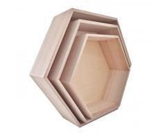 Youdoit 3 estantes de Madera hexagonales