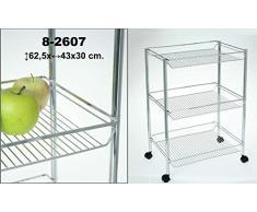 DonRegaloWeb - Verdulero - Carro de cocina - Verdulero de metal cromado de 3 estanterías en forma rectangular con ruedas