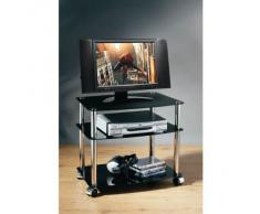 Unidad de Medios, 3 niveles soporte de TV Mesa Cristal Negro patas de acabado cromado con ruedas
