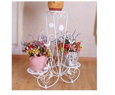 FZN hierro forjado maceta de flores balcón estante moderno puesto de flores de interior y exterior minimalista Jardinería Macetas para flores (Color : Blanco, Tamaño : 70*25*83)