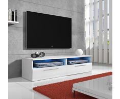 muebles bonitos mueble tv modelo cozumel en blanco con led - Muebles Bonitos