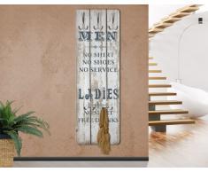 """WTD mantiburi No.RS181 - Perchero decorativo para pared (tablero de madera DM, diseño con las palabras en inglés """"Men"""" y """"Ladies"""")"""