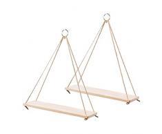 OUNONA 2 piezas creativo flor maceta de almacenamiento Rack colgante cuerda estante de madera cesta de la pared adornos (tamaño pequeño)