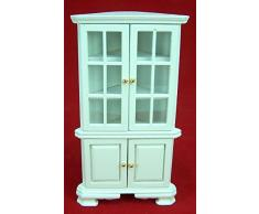 Casa de muñecas Gabinete de esquina Vitrina Madera Muebles diferentes Colores Miniaturas 1:12 - Blanco
