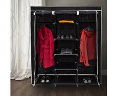Relaxdays 10019122_46 - Armario/ropero plegable hecho de tubos de acero y recubrimiento de tela, 2 tubos para colgar ropa y 9 estantes, 173 x 148 x 42.5 cm, color negro