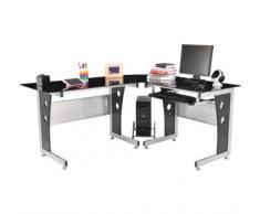 Mesa Esquinera Oficina PC Escritorio Ordenador Metal Madera Vidrio de Seguridad