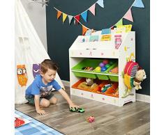 SONGMICS Estantería Infantil, Estantería para Niños, con 3 Estantes para Libros y 6 Cajones Extraíbles, Ideal para Habitaciones Infantiles y Guardería, Beige GKR44WTV1