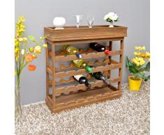 Botellero de madera marrón oscuro para 24 botellas de vino