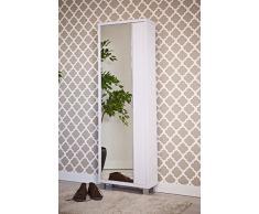 Intradisa - Zapatero 1 puerta espejo y 22 cm de fondo - Acabado blanco