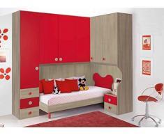 Dormitorio puente esquina Composición Luna. Puente de la cama armario de esquina, mesita de noche.