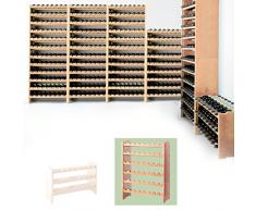 Sistema modular Botellero MEDOC, Módulo 2, pino natural, capacidad 48 botellas, apilable / ampliable - alt. 87,5 x anch. 68 x pr. 27 cm