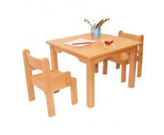 Muebles Para Niños de Madera de La Haya Sólida Natural Barnizada, Conjunto de Tres Piezas, Una Mesa y Dos Sillas Con Apoyabrazos Para Los Niños