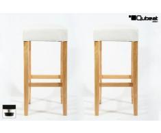 2x Taburete de bar madera blanco cuero artificial tacos ajustables acolchado