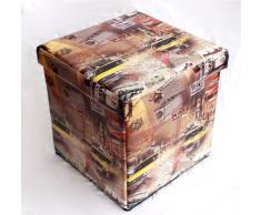 Taburete de piel sintética caja taburete 2009 40 cm asiento con forma de cubo baúl cesta