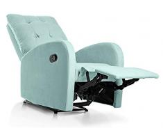 SUENOSZZZ-ESPECIALISTAS DEL DESCANSO Sillon Relax orejero reclinable Soft tapizado en Tela Antimanchas Verde Agua