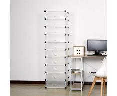 WOLTU Zapatero Modular Estantería por Módulos DIY, Zapatero con 10 estantes Almacenamiento para Habitación Salón Baño 47x35x170cm Blanco SR0052ws