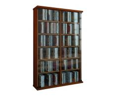 VCM Roma - Torre para CD/DVD, para 300 CDs, color Vetas de nogal, dimensiones 92x60x18 cm