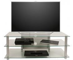 vcm netasa mueble para tv cristal claro color plata