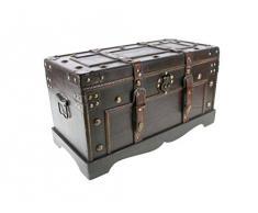 CAL FUSTER - Baúl de madera pequeño con aplicaciones de cuero
