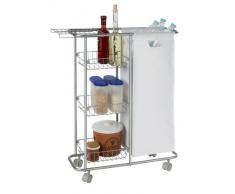 Wenko 12100100 - Carrito de cocina de metal y plástico (capacidad de 28 L, 80 x 58 x 20 cm, con 3 baldas y bolsa extraíble), color gris